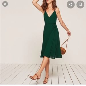 NWT Reformation green temple wrap midi dress